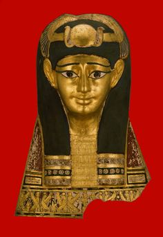 Egyptian ~ Roman-Period 1st-century B.C. ` Cartonnage, gold leaf and pigment.