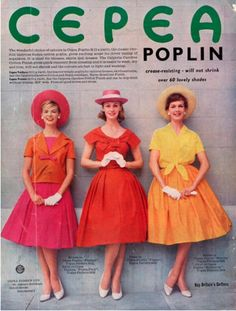 Poplin fabric advertisement, 1950's Cepea Poplin