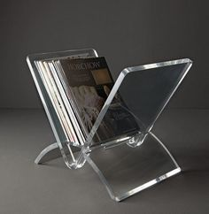 5 Ways To Use Acrylic Decor Throughout Your House // Living Room - Keep your magazines organized in this acrylic magazine rack that makes it easy to see all your issues at a quick glance. Lucite Furniture, Acrylic Furniture, Furniture Decor, Desk Accessories, Decorative Accessories, Plexiglass, Displays, Acrylic Box, Accent Decor