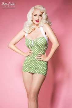 Bettie Swimsuit in Olive and White Polka Dots