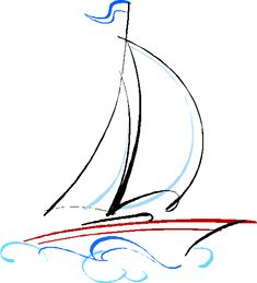 Riding in The Lap of Luxury Travel With a Virgin Island Yacht Charters Sailboat Drawing, Sailboat Art, Nautical Art, Sailboats, Sailing Tattoo, Drawing Sketches, Art Drawings, Simple Line Drawings, Art Graphique