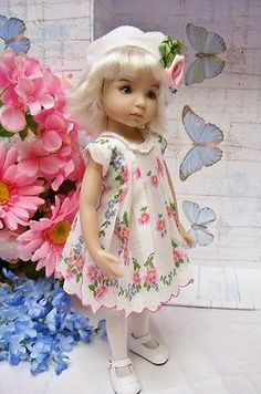 Effner-13-Little-Darling-Spring-Flower-Scalloped-Hanky-Dress-and-Hat. Sold for $44.90 on 3/23/14.