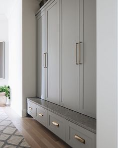 Both mudrooms feature Built-in Benches with Quartz seats! – I love this trick. It's such a hard durable surface. Mudroom Cabinets, Mudroom Laundry Room, Built In Cabinets, Cupboards, Built In Lockers, Built In Bench, Narrow Bench, Hallway Storage, Tall Cabinet Storage