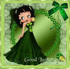 animated st patrick's day gifs   Good Luck to you - Beautiful Betty Boop in shimmering green gown with ...
