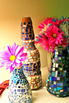 Any sort of empty bottle can be turned into a pretty mosaic vase using broken china. (Yes, even a beer bottle!)