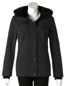 5aecb618149 Keep warm and dry with this classic soft shell jacket. We love the seamed  silhouette and cozy faux fur collar. Long sleeve soft shell jacket with  snap ...