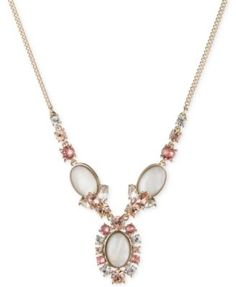 Givenchy Gold-Tone Mother-of-Pearl Crystal Necklace