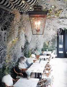 London's Best Instagram Cafes - JULIET ANGUS London Cafe, Mayfair London, Brighton, Flower Cafe, Chelsea Garden, London Poster, Glasgow, Pink Furniture, London Instagram