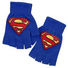"Guanti senza dita blu ""Logo"" di #Superman con logo del supereroe."