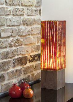 Wood and glass table lamp