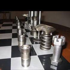 "Unusually creative ""nuts  bolts"" chess set? Neat!"