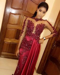 sexy Long Mermaid Prom Dresses 2020 New Long Sleeve Beaded Lace Applique Tull Floor Length Formal Evening Dress Party Gowns Custom Made Lace Dress Styles, African Lace Dresses, Latest African Fashion Dresses, Party Gowns, Party Dress, Dinner Gowns, African Attire, Mermaid Prom Dresses, Formal Evening Dresses