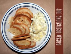 Baked Artichoke Dip #appetizer from ThriftyBelow.com #yum