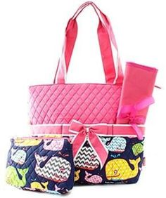 Personalized Quilted Pink Whale Diaper Bag Tote 3 Pieces