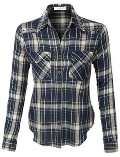 LE3NO Womens Loose Plaid Button Down Shirt with Pockets