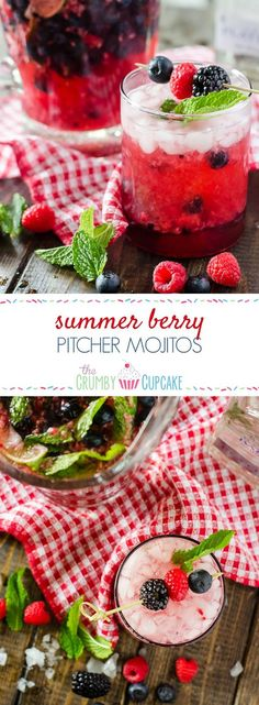 Traditional mojitos all jazzed up with fresh berries and raspberry seltzer, these quick and easy Summer Berry Pitcher Mojitos are sure to cool down a hot afternoon! #SundaySupper