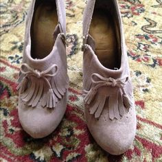 Beige suede booties Decorative tassel tie front. Zips on side. 4.5 inch heel. Mix No6 Shoes Ankle Boots & Booties