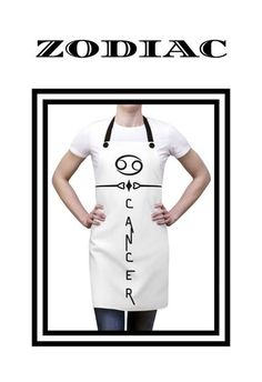 This stylish apron is the ideal gift for anyone born under the zodiac sign of Cancer. A lovely Kitchen apron featuring a simple sleek design, which combines both the Cancer glyph along with the word Cancer...