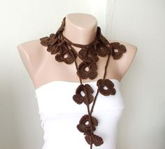 Handmade Crochet Brown , Bitter, Chocolate color Flower Lariat, Scarf, Necklace