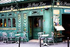 le petit zinc - 8x10 Fine Art Photograph - Paris Photography - Paris cafe in green - Restaurant Paris - Paris Home Decor on Etsy, $30.00
