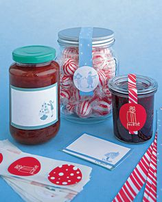 Customize a Jar of Candy or Preserves from Martha Stewart ..... Easy Homemade Handmade Christmas Gifts Kids (or the Crafting Clueless) Can Make