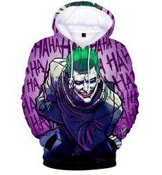 Men Women 3D Print Suicide Squad Joker Funny Hoodie Sweater Sweatshirt Pullover