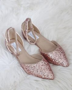 ROSE GOLD Rock Glitter Ankle Strap Flats  83ef31e62c03