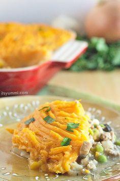 Easy Sweet Potato Shepherds Pie - #recipe from ItsYummi.com