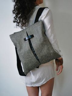 b76372186d Unique design backpack   messenger bag Gray Jute bag Black canvas Cotton  fabric Handmade women bag Stylish Stylish College bag Gift for her