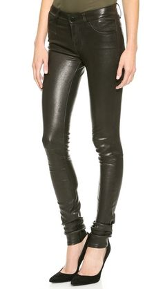 pant option - J Brand L624 Stacked Leather Skinny Pants - shopbop