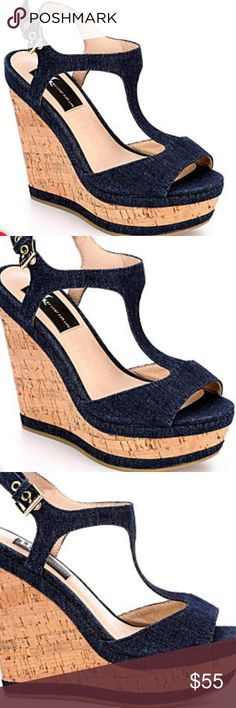 Denim Peep Toe Wedge Pre-order if you want! I have two pair of (size 8.5) new in box... will be here soon! These are a must have for spring and sold out everywhere! Get a pair while you can! lust for life (LFL) Shoes Wedges