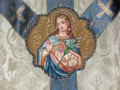 Making Vestments, Fabric, Trims & Applique used for Making Religious and Catholic Church Worship Catholic Crafts, Catholic Art, Roman Catholic, Gift Of Faith, Vintage Holy Cards, Altar Cloth, Mother Mary, Embroidery Patterns, Worship