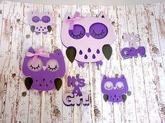 Owl Cake and Cupcake Toppers Purple Baby Shower It's A