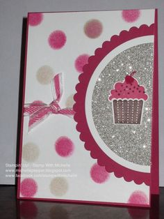 Stampin' Up! Create A Cupcake, Circle Framelits and Silver Glimmer Paper. Use sponge daubers to create the polka dots. Card inspired by Catherine Pooler.