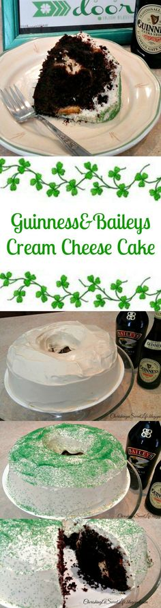 Guinness-Chocolate Bundt cake filled with Baileys' Cream Cheese #chocolate #Baileys #Guinness #irish #stpatricksday #cake #green #cheesecake