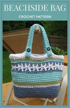 This bag is the perfect project for summer fun, a day at the beach, pool,or just about any other time. Beachside Bag, Crochet Pattern Pdf,Instant download available #crochet #pattern #bag #affiliate #crochetbags