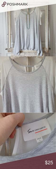 Vince Camuto Flowy Top This top is in like new condition! It sis grey with white sheer accents and a cute keyhole in the back. It'd be so pretty with skinny jeans or leggings! Vince Camuto Tops Blouses
