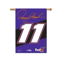 """Denny Hamlin 2-Sided 28"""" X 40"""" Banner W/ Pole Sleeve - NASCAR by BSI. $22.50. Support your favorite team by hanging up this two-sided Collegiate premium 2-sided banner. This 28-inch x 48-inch banner is made of durable, heavy-duty 150-denier polyester and has a 1.5-inch pole sleeve so it is easy to hang. The officially licensed banner is brightly decorated in the team colors and proudly displays the official team graphics on both sides.. Save 44% Off!"""