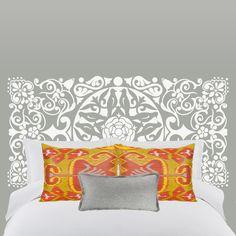 Vinilo cabezal de cama Oriental.  Exotismo oriental en tu dormitorio con este cabezal de cama de celosía de flores y pájaros. DISFRÚTALO EN NUESTRA WEB: http://dolcevinilo.es/vinilo-cabezal-oriental