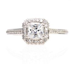 Princess White Sapphire Engagement Ring 14K Diamond by RareEarth, $1,436.00