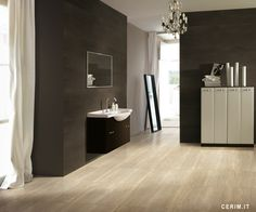 Walnut is one of the four marble inspired finishes by the Cerim collection Stone Light. Authentic beige veins that remind precious natural marble run over this porcelain stoneware tile.