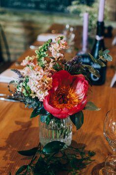 Coral Peony Flowers Jar Table Centrepiece Flowery Bohemian Secret Garden Wedding https://caseyavenue.co.uk/ #weddingflowers #peony #peonies #jar