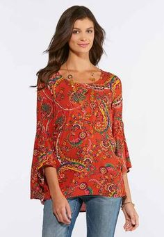 9666afe59fe Cato Fashions Plus Size Floral Paisley Bell Sleeve Top  CatoFashions Cato  Fashion Plus Size