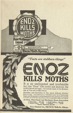 Old Ads Are Funny: 1921 ad: Enoz Kills moths