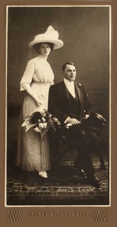 +~+~ Antique Photograph ~+~+ Elegant Bride and Groom