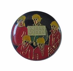 """DuRAN DuRAN Hungry Like the Wolf vintage enamel pin piback lapel badge 1980s pop rock tour concert memorabilia by VintageTrafficUSA  14.00 USD  A vintage DuRAN DURAN pin! Used but excellent condition. Measures: approx 1"""" 20 years old hard to find vintage high-quality cloisonne lapel/pin. Beautiful die struck metal pin with colored glass enamel filling. Add inspiration to your handbag tie jacket backpack hat or wall. Have some individuality = some flair…"""