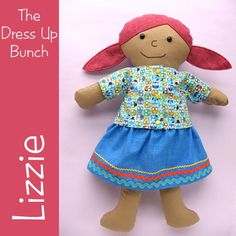 Lizzie - a Dress Up Bunch rag doll pattern from Shiny Happy World