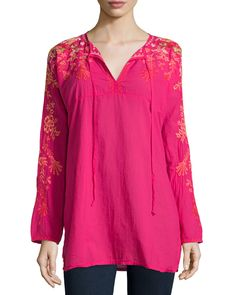 Johnny Was Jessica Long-Sleeve Embroidered Woven Tunic, Pink Berry, Women's, Size: L