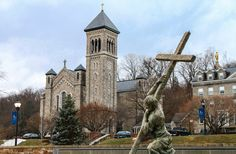 Sculpture from Mount St Mary's University in Maryland. In 1808 Father John DuBois planted a cross as the foundation of the university, and this sculpture commemorates that // photo: Lawrence OP