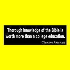 "Theodore Roosevelt ""BIBLE WORTH"" christian BUMPER STICKER, jesus, christ, cross"